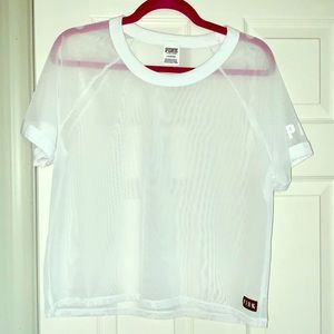 Victoria's Secret Pink sheer cropped tee size. L